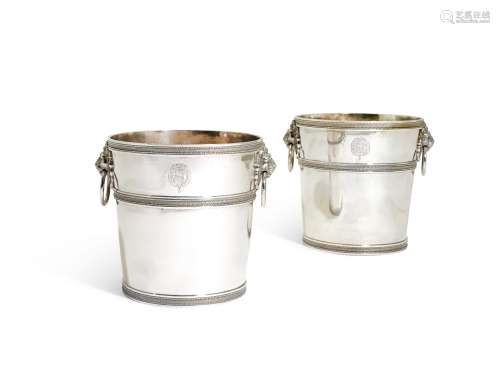A pair ofItalian silver wine coolers, Guadagni family, Florence, early 19th century