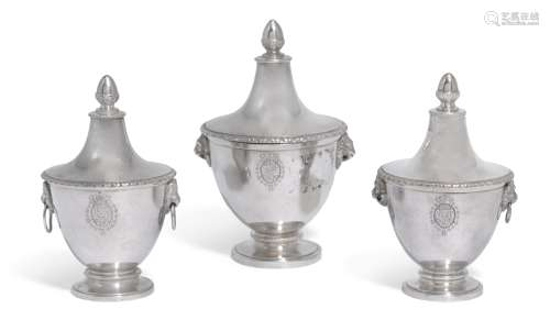 A suite of three graduated Italian silver cache pots and covers, probably Gaetano Guadagni, Florence, early 19th century