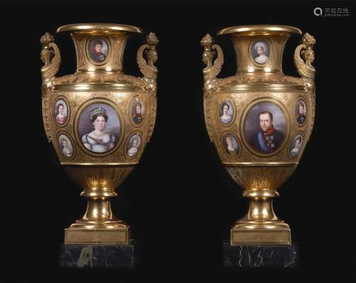 An important pair of Royal portrait gold-ground porcelain armorial vases, the porcelain Paris, the decoration Naples, attributed to Raffaele Giovine