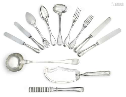 An extensive Italian and French silver flatware service, predominantly Martin-Guillaume Biennais and Luigi Vernazzi, Paris and Parma, early19th-century