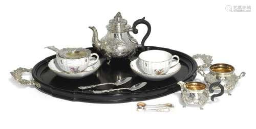 An Austrian silver and Meissen porcelain 'tête-à-tête' tea service, J.C. Klinkosch, Vienna, circa 1900
