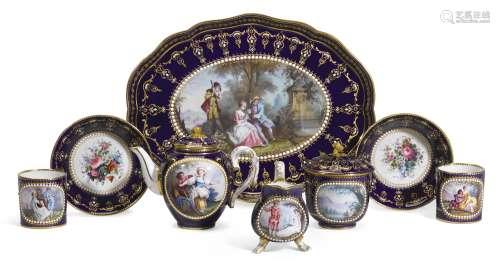 A Sevres-style porcelain 'jewelled'dejeuner
