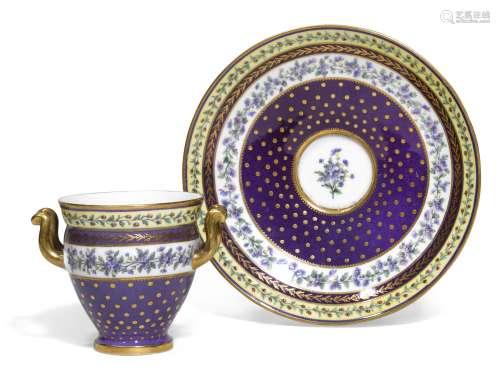 A Sevres porcelain two-handle cup and stand (goblet etrusque et soucoupe)