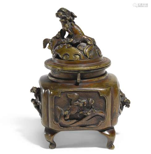 A Chinese bronze 'mythical beast' censer and cover, Qing Dynasty,19th century