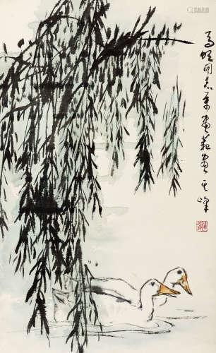 孙其峰(b.1920) 柳荫双息 纸本 镜心
