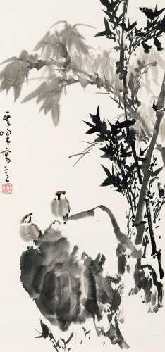 孙其峰(b.1920) 竹下轻语 纸本 镜框