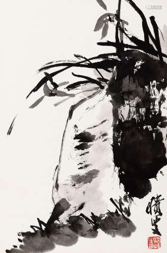 梁崎(1909-1996) 兰石 纸本 立轴