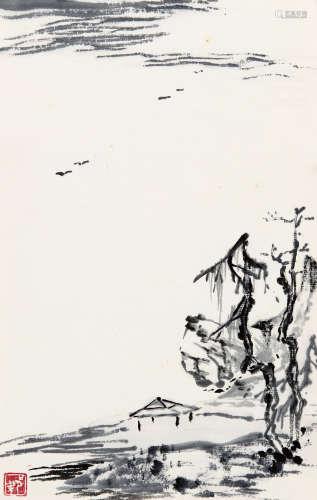 梁崎(1909-1996) 看雁行 纸本 软片