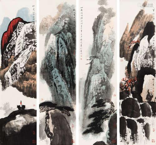 白庚延(1940-2007) 山水四屏 纸本 镜芯