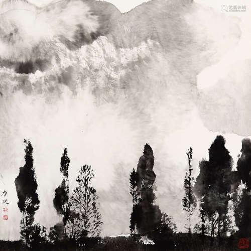 白庚延(1940-2007) 山下松林 纸本 托片