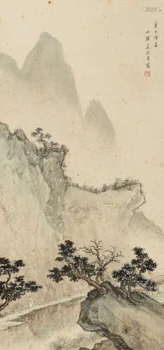 吴镜汀(1904-1972) 深山问道 绢本 立轴