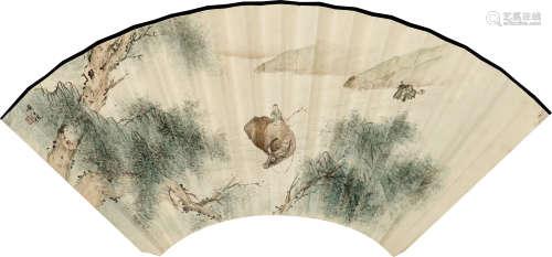 黄士俊(1570-1654) 牧牛图 纸本 扇面