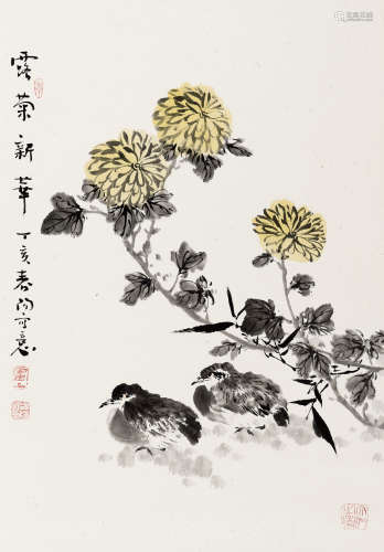 霍春阳(b.1946) 露菊新华 纸本 立轴