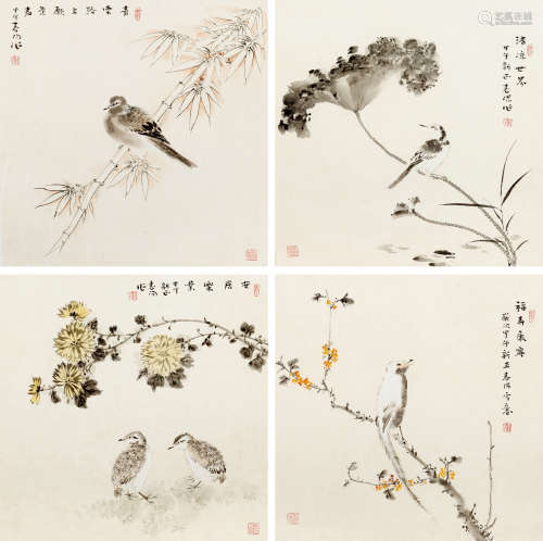 霍春阳(b.1946) 清凉世界花鸟四屏 纸本  镜片