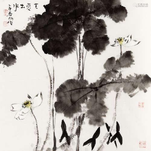霍春阳(b.1946) 芙蓉出水 纸本 软片