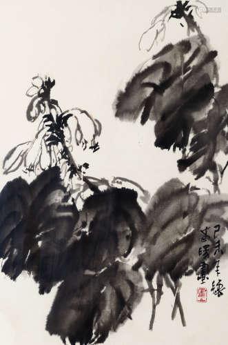 霍春阳(b.1946) 玉簪 纸本 镜芯