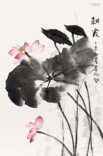 霍春阳(b.1946) 朝霞 纸本 镜框