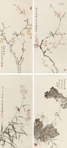 霍春阳(b.1946) 花鸟四屏 纸本 镜芯