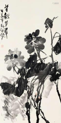 霍春阳(b.1946) 首魁芳群 纸本 立轴