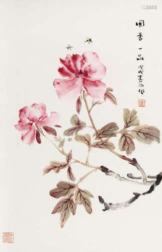 霍春阳(b.1946) 国香一品 纸本 镜芯