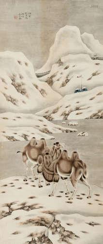 刘用烺 沙漠骆驼 纸本 立轴