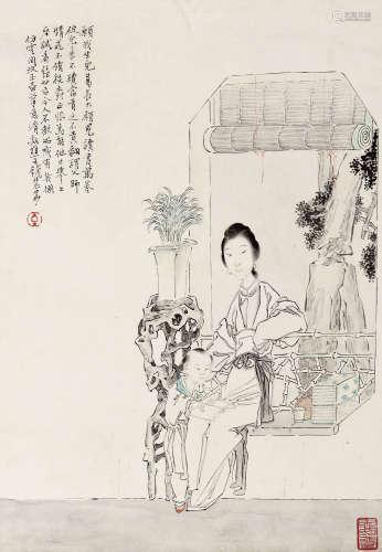 钱慧安(1833-1911) 教子图 纸本 立轴