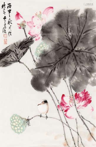 贾广健(b.1964) 荷间 纸本 软片
