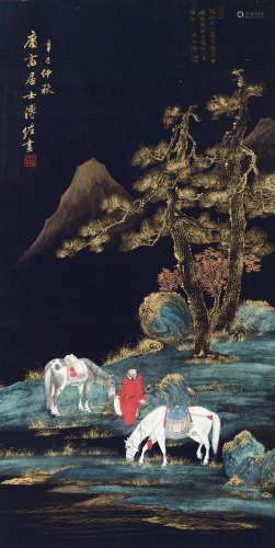 溥佐(1918-2001) 双马人物 纸本立轴