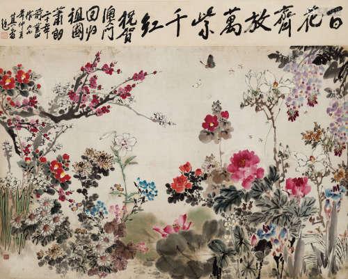 萧朗(1917-2010) 百花齐放 纸本镜框