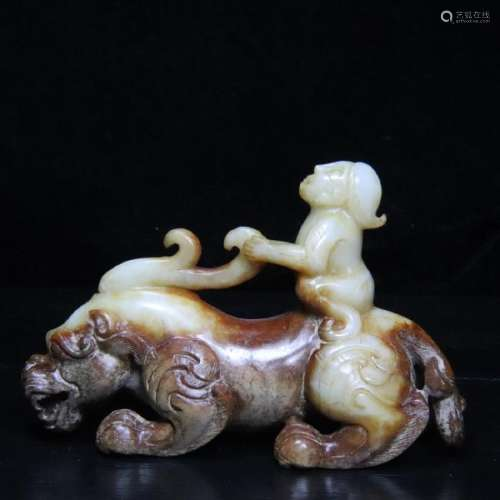 AN OLD JADE CARVED BEAST SHAPED PENDANT