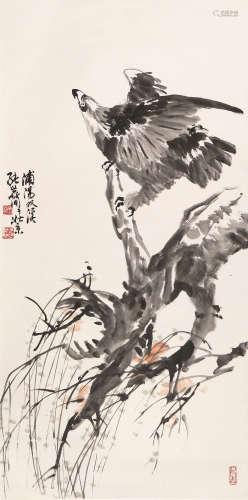张世简(b.1926) 雄姿待发 设色 纸本立轴