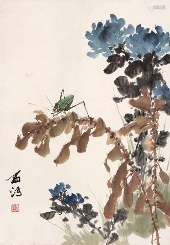郭西河 花卉草虫 设色 纸本立轴