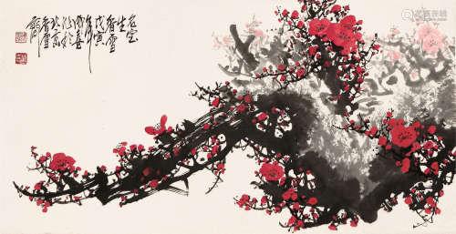 王成喜(b.1940) 红梅 设色 纸本立轴