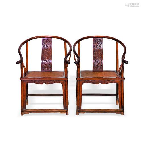 黄花梨雕龙纹席面圈椅一对