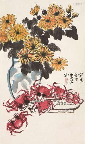 康师尧 菊蟹图 设色 纸本立轴