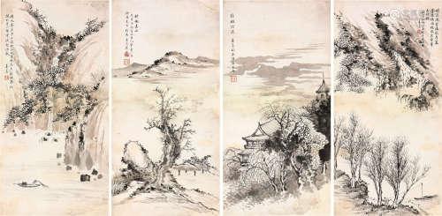 寿玺(1885-1950) 山水四屏 设色 纸本镜片