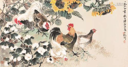 陆抑非(1908-1997) 大吉图 设色 纸本镜片