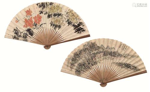 黄宾虹(1865-1955) 山居图·花卉 设色 纸本成扇