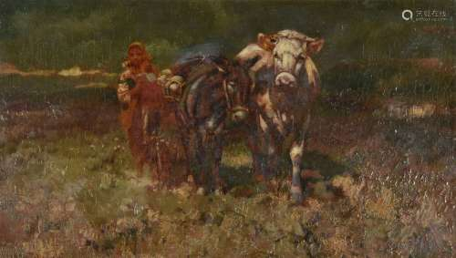 Italian School (19th century)Peasant girl with cow and donkey
