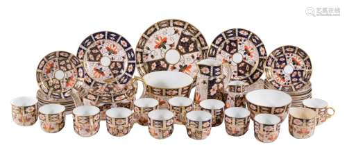 A Royal crown Derby Imari part tea and coffee service, assorted date codes