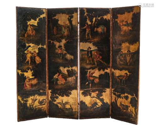 A Continental painted leather four fold screen, 19th century and later remounted