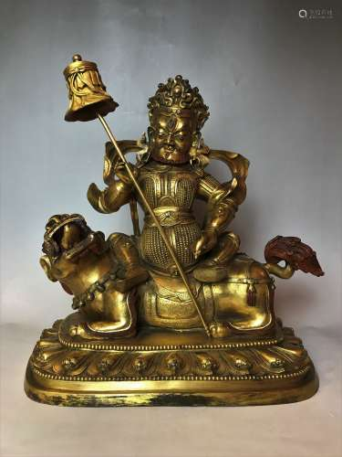 Gilt Bronze Figure of Vaishravana Riding a Lion