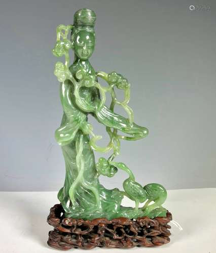 Finely Carved Green Jade GuanYin with Cranes