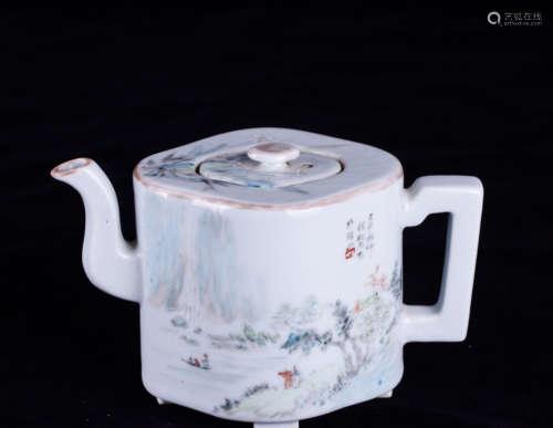 A SHALLOW DROP GLAZE LANDSCAPE PATTERN TEA POT