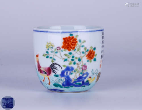 A FAMILLE ROSE POETRY PATTERN CUP