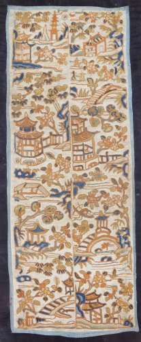 A Chinese Qing period silk shoulder decoration or double epaulette, decorated with buildings and