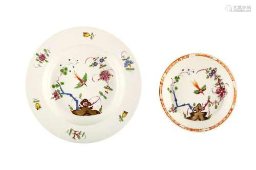 A MARCOLINI MEISSEN SOUP PLATE AND A SAUCER