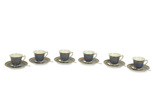 A CASED GEORGE JONES & SONS CRESCENT CHINA COFFEE SERVICE FOR SIX