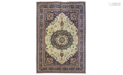 A FINE PART SILK MESHED CARPET, NORTH-EAST PERSIA approx: 9ft.10in. x 6ft.7in.(299cm. x 201cm.) Very