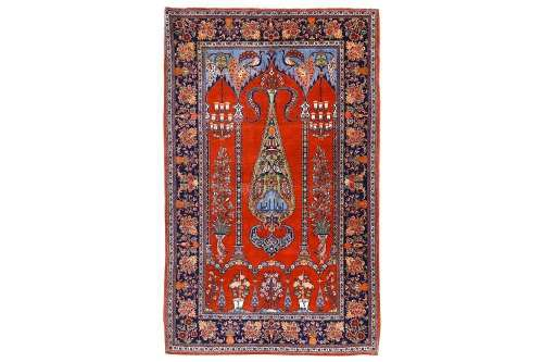 A FINE KASHAN PRAYER RUG, CENTRAL PERSIA approx: 7ft.1in. x 4ft.6in.(215cm. x 137cm.) Very nicely